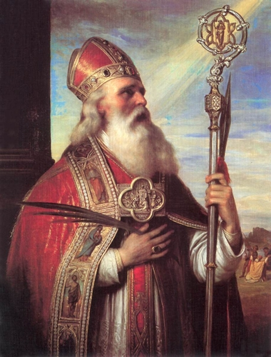 an oil painting of Saint Adalbert by Mihály Kovács, 1855; the painting is in the Dobó István Castle Museum, Eger, Hungary; the image was swiped from Wikimedia Commons