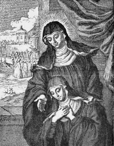 illustration of Saint Adelaide, Abbess, from the book 'Saints of the Order of Saint Benedict', designed by Father Amandus Liebhaber