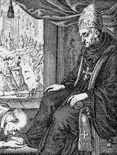 illustration of Saint Agatho, Pope, from the book 'Saints of the Order of Saint Benedict', designed by Father Amandus Liebhaber
