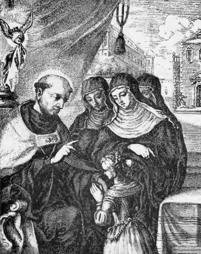 illustration of Saint Aldegunde, Abbess, from the book 'Saints of the Order of Saint Benedict', designed by Father Amandus Liebhaber
