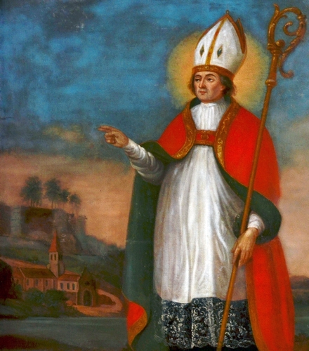 detail of a painting of Saint Amandus of Boixe by François Nicollet
