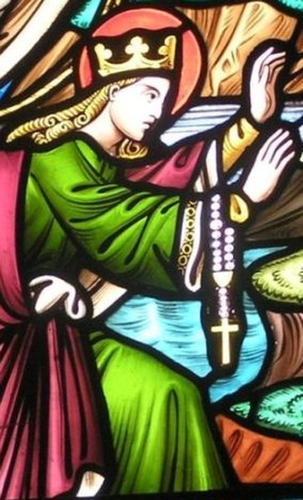 detail of a stained glass window depicting Saint Bega arriving at the site where Saint Bee's Priory would be built; date and artist unknown; Saint Bee's Priory, Cumbria, England; photographed on 25 October 2009 by Dougsim; swiped from Wikimedia Commons