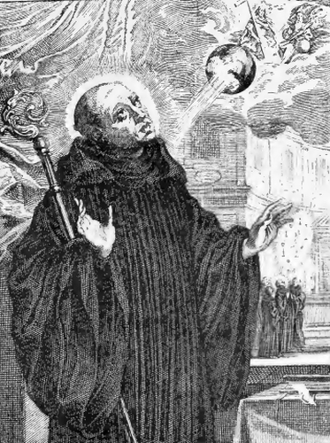 illustration of Saint Benedict, Patriarch of Monks, from the book 'Saints of the Order of Saint Benedict', designed by Father Amandus Liebhaber