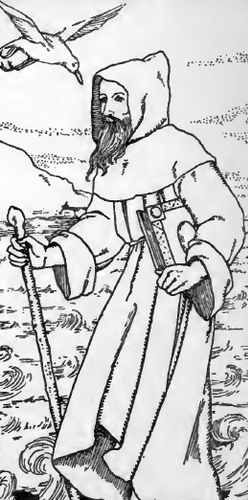 detail of an illustration of Saint Beuno and the Curlew from the book 'Legends of Saints and Birds', by Agnes Aubrey Hilton, 1908