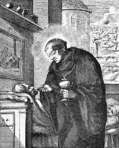 illustration of Saint Birnstan, Bishop, from the book 'Saints of the Order of Saint Benedict', designed by Father Amandus Liebhaber