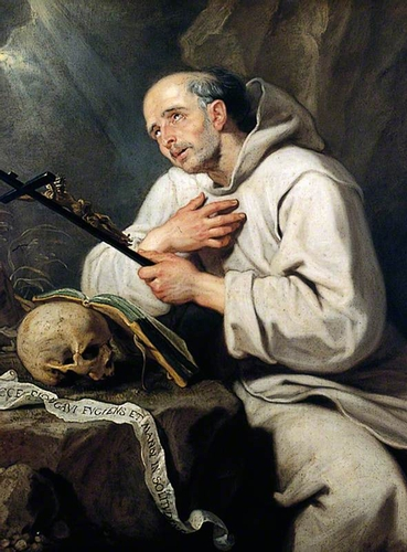 detail of the painting 'St Bruno' by Gaspar de Crayer, c.1655; York Art Gallery, York, North Yorkshire, England