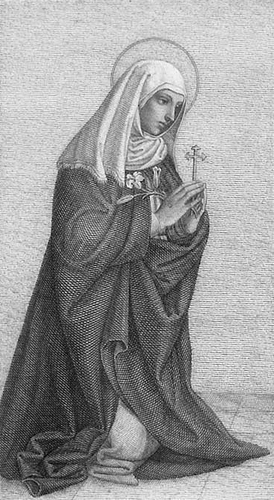 detail of a holy card of Saint Catherine, 1860, artist unknown; it was uploaded by Broederhugo and swiped from Wikimedia Commons