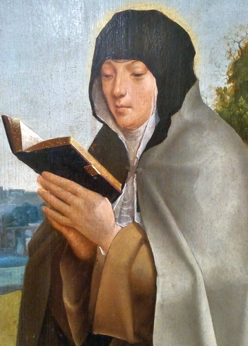 detail of the painting 'Saint Clare of Assisi and Saint Colette', by the Master of Lourinhã, c.1520; the painting in in the Nacional de Arte Antiga, Lisboa, Portugal; the image was uploaded by RickMorais, and swiped from Wikimedia Commons