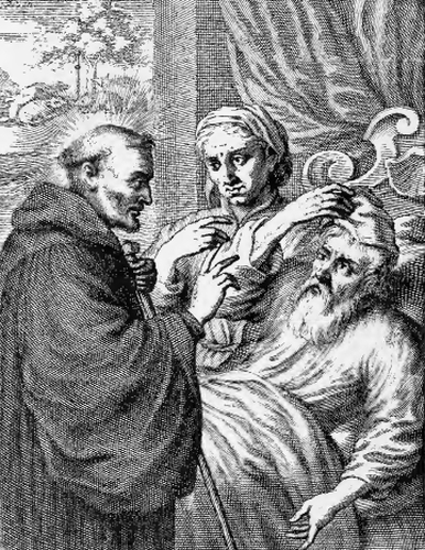 illustration of Saint Deicolus, Abbot, from the book 'Saints of the Order of Saint Benedict', designed by Father Amandus Liebhaber