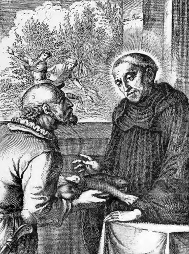 illustration of Saint Dominic, Abbot and Hermit, from the book 'Saints of the Order of Saint Benedict', designed by Father Amandus Liebhaber