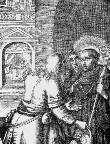 illustration of Saint Eucherius, Bishop, from the book 'Saints of the Order of Saint Benedict', designed by Father Amandus Liebhaber