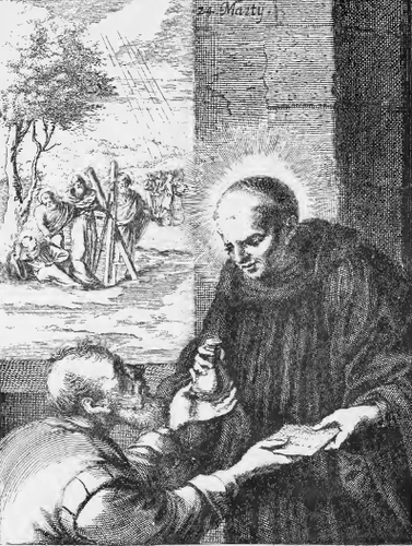 illustration of Saint Eugendus, Abbot, from the book 'Saints of the Order of Saint Benedict', designed by Father Amandus Liebhaber