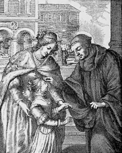 illustration of Saint Eustatius, Abbot, from the book 'Saints of the Order of Saint Benedict', designed by Father Amandus Liebhaber