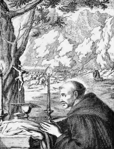 illustration of Saint Fennenus, Abbot, from the book 'Saints of the Order of Saint Benedict', designed by Father Amandus Liebhaber