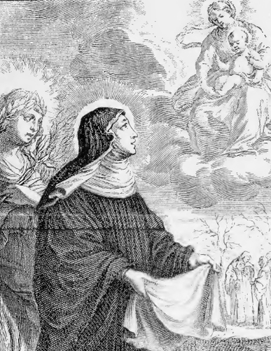illustration of Saint Frances of Rome, Widow, from the book 'Saints of the Order of Saint Benedict', designed by Father Amandus Liebhaber