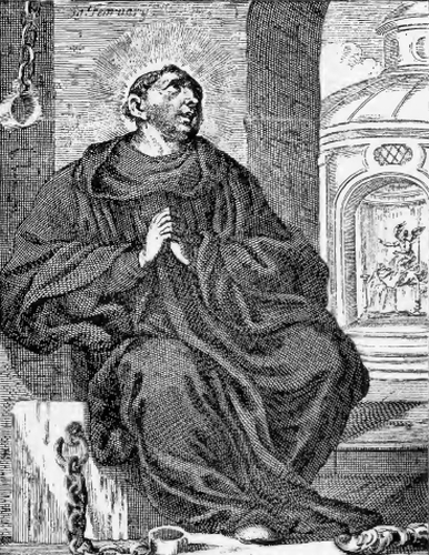 illustration of Saint Frederick, from the book 'Saints of the Order of Saint Benedict', designed by Father Amandus Liebhaber