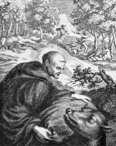 illustration of Saint Humbert, Abbot, from the book 'Saints of the Order of Saint Benedict', designed by Father Amandus Liebhaber
