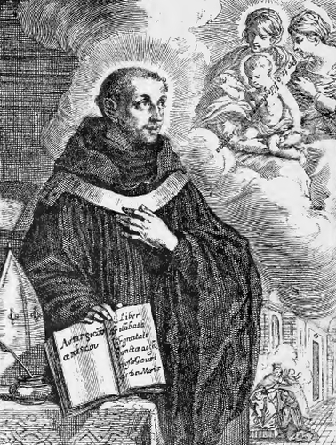 illustration of Saint Ildephonsus, Archbishop, from the book 'Saints of the Order of Saint Benedict', designed by Father Amandus Liebhaber