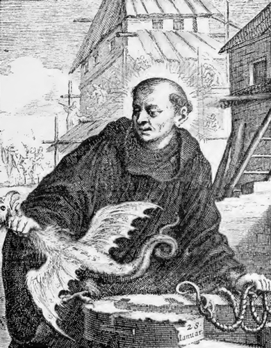 illustration of Saint John, Abbot, from the book 'Saints of the Order of Saint Benedict', designed by Father Amandus Liebhaber