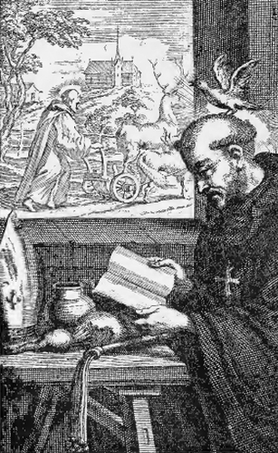 detail of an illustration of Saint Kentigern, from the book 'Saints of the Order of Saint Benedict', designed by Father Amandus Liebhaber