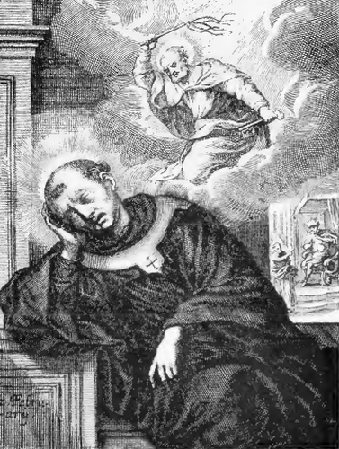 illustration of Saint Laurence, Archbishop, from the book 'Saints of the Order of Saint Benedict', designed by Father Amandus Liebhaber