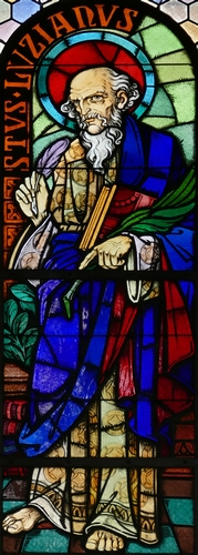 detail of a stained glass window of Saint Lucien by Ott Frères, 1947; Église Saints-Pierre-et-Paul dite Sainte-Richarde, Andlau, France; photographed by Ralph Hammann on 22 August 2016; image swiped from Wikimedia Commons