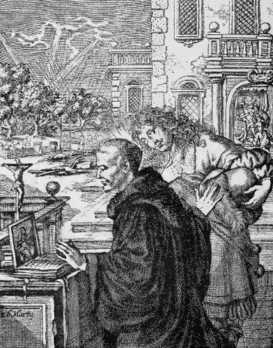 illustration of Saint Ludgerus, Bishop, from the book 'Saints of the Order of Saint Benedict', designed by Father Amandus Liebhaber
