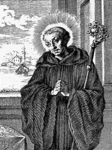 illustration of Saint Maurus, Abbot, and First Founder of the Order in France, from the book 'Saints of the Order of Saint Benedict', designed by Father Amandus Liebhaber
