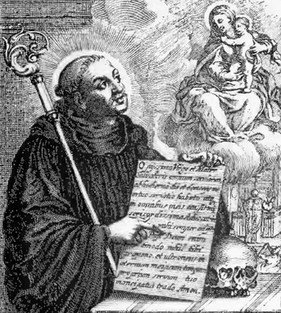 illustration of Saint Odilo, Abbot, from the book 'Saints of the Order of Saint Benedict, designed by Father Amandus Liebhaber