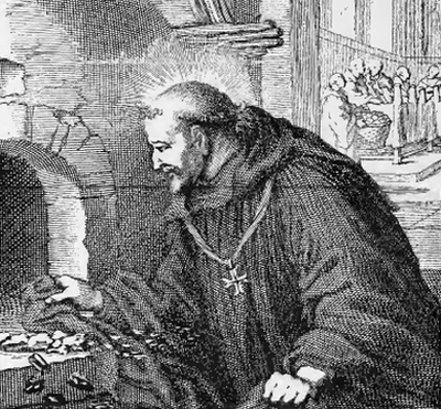 illustration of Saint Paul, Bishop of Verdun, from the book 'Saints of the Order of Saint Benedict', designed by Father Amandus Liebhaber