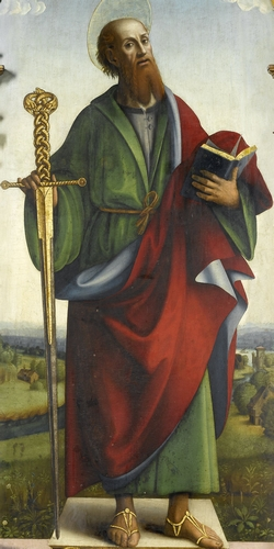 detail of an oil painting of Saint Paul the Apostle, c.1500, artist unknown; the painting is in the Rijksmuseum in Amsterdam, Netherlands; the image was swiped from Wikimedia Commons