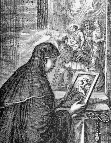 illustration of Paula, from the book 'Saints of the Order of Saint Benedict', designed by Father Amandus Liebhaber