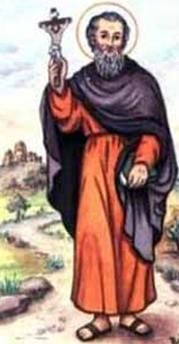 detail of an antique Italian holy card of Saint Quintus by Bertoni, date unknown