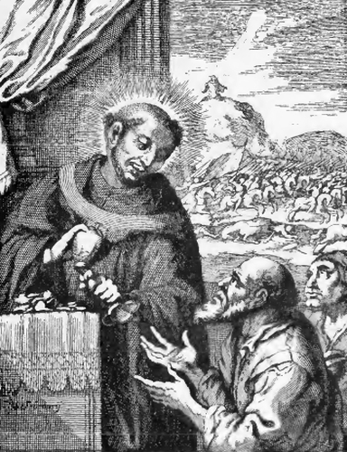 illustration of Saint Rembert, Archbishop, from the book 'Saints of the Order of Saint Benedict', designed by Father Amandus Liebhaber