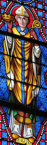 detail of a stained glass window of Saint Remigious, date and artist unknown; Basilique Notre-Dame, Bonsecours, France; photographed on 13 September 2012 by Giogo; swiped from Wikimedia Commons