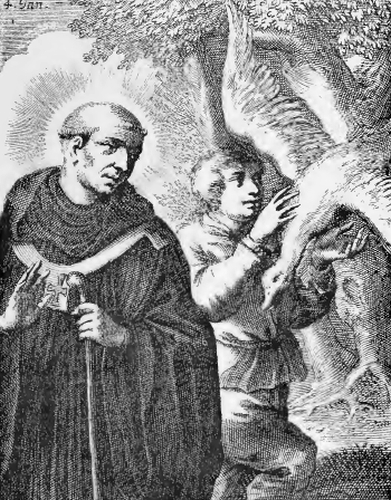 illustration of Rigobert, from the book 'Saints of the Order of Saint Benedict', designed by Father Amandus Liebhaber