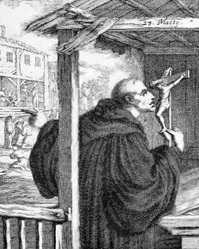 illustration of Saint Romanus, Hermit and Monk, from the book 'Saints of the Order of Saint Benedict', designed by Father Amandus Liebhaber