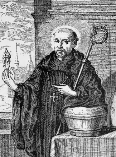 illustration of Saint Rupert, Archbishop of Salzburg, from the book 'Saints of the Order of Saint Benedict', designed by Father Amandus Liebhaber
