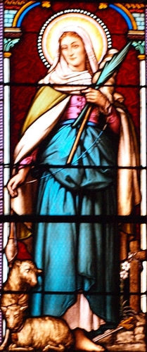 detail of a stained glass window of Saint Solange at the church of Saint-Martin d'Ennordres, Cher, France; date and artist unknown; photographed on 4 December 2012 by François Goglins; swiped from Wikimedia Commons