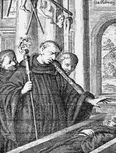 illustration of Saint Stephen, Abbot, from the book 'Saints of the Order of Saint Benedict', designed by Father Amandus Liebhaber