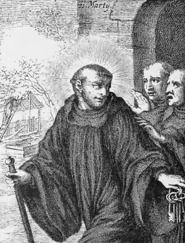 illustration of Saint Tillo, Abbot and Hermit, from the book 'Saints of the Order of Saint Benedict', designed by Father Amandus Liebhaber