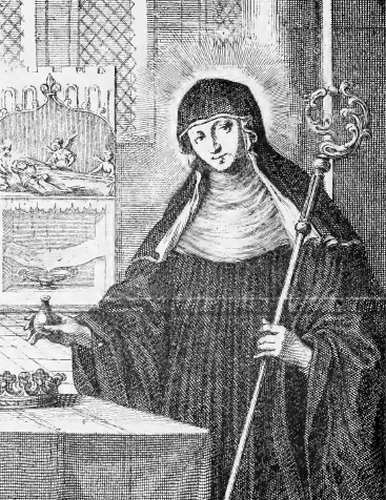 illustration of Saint Walburge, Abbess, from the book 'Saints of the Order of Saint Benedict', designed by Father Amandus Liebhaber