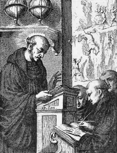 illustration of Saint William, Abbot, from the book 'Saints of the Order of Saint Benedict', designed by Father Amandus Liebhaber