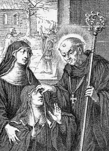 illustration of Saint Wolstan, Bishop, from the book 'Saints of the Order of Saint Benedict', designed by Father Amandus Liebhaber