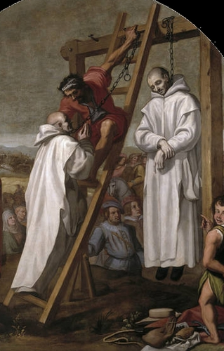 detail of the painting 'The Martyrdom of Fathers John Rochester and James Walworth' by Vincenzo Carducci, c.1632; Museo Nacional del Prado, Madrid, Spain; swiped from Wikimedia Commons
