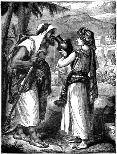 Rebekah giving drink to Abraham's servant